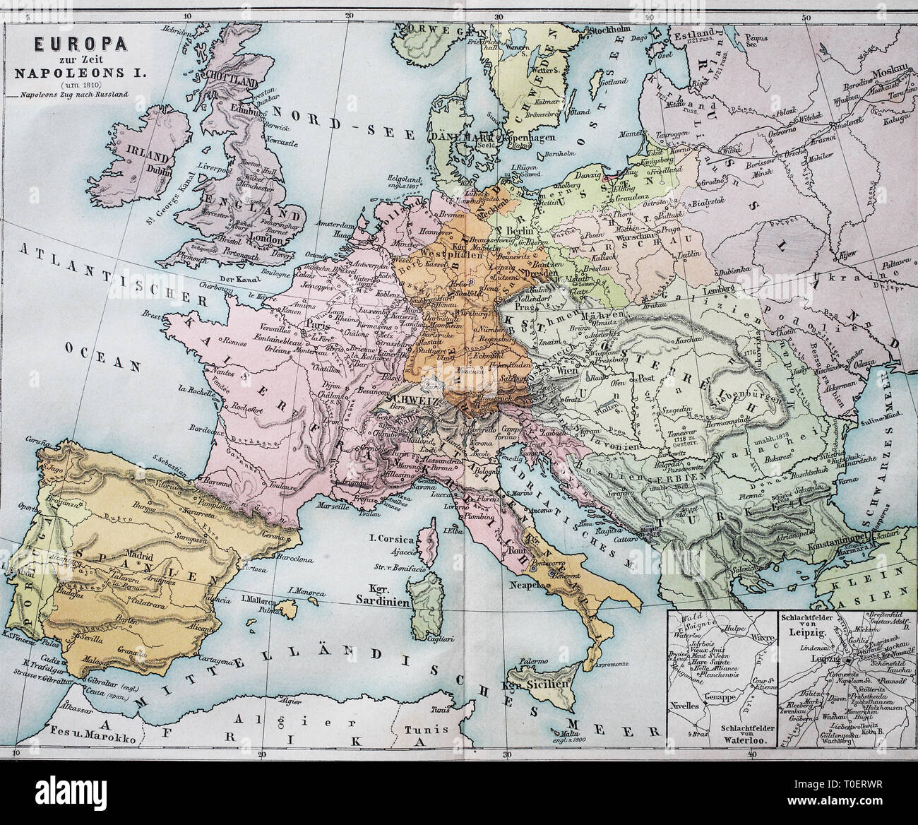Historical map of Europe from the time of Napoleon I.  /  Historische Landkarte von Europa zur Zeit von Napoleon I. - Stock Image
