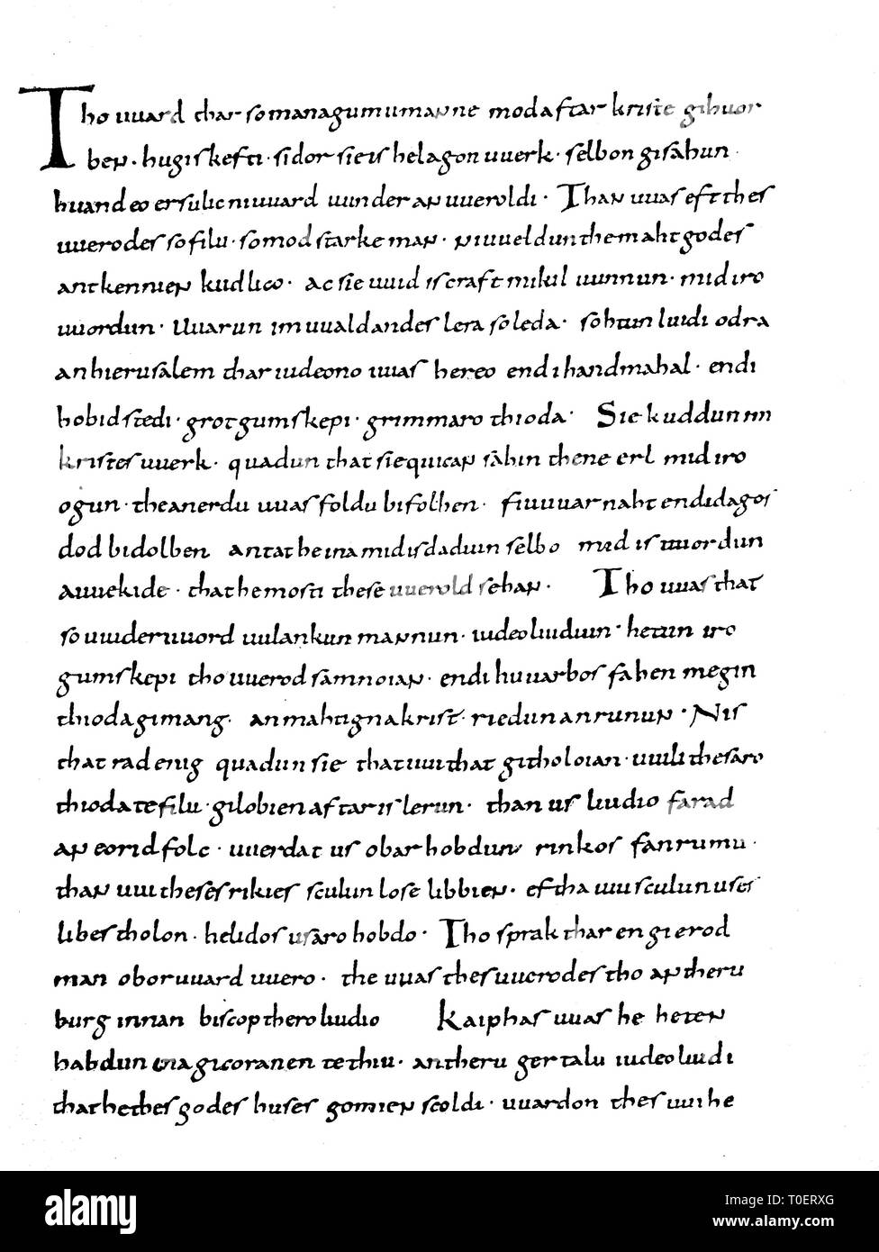 A page from The Heliand, an epic poem in Old Saxon, written in the first half of the 9th century  /  Eine Seite der Münchner Pergamenthandschrift des Heliand, 9. Jahrhundert - Stock Image