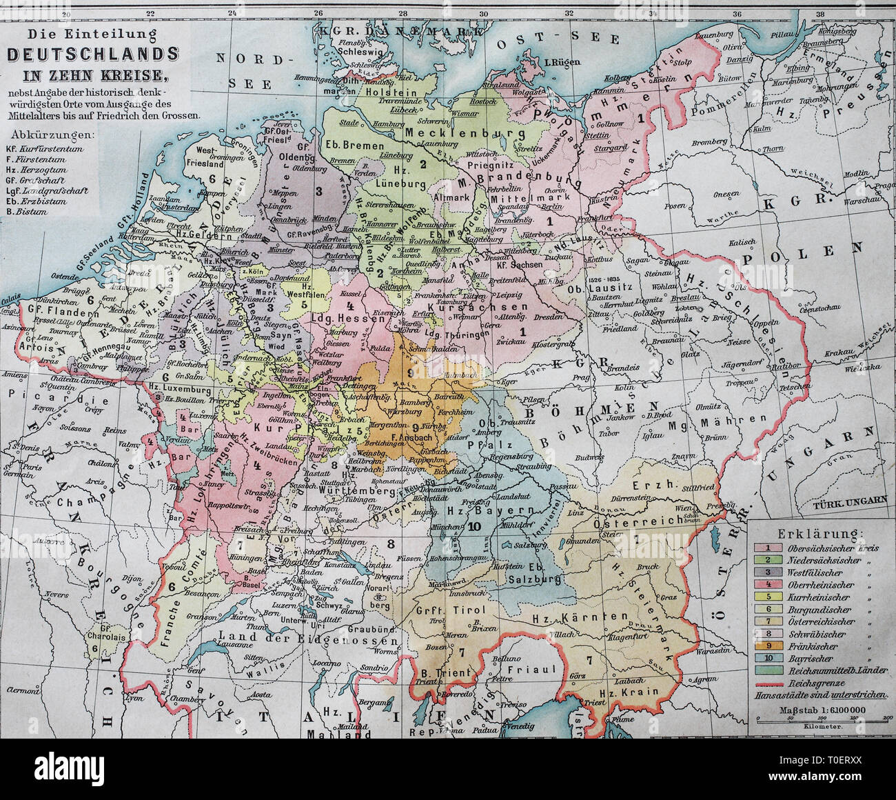 deutschland 16 jahrhundert karte Historic map dividing Germany into ten districts in the 16th