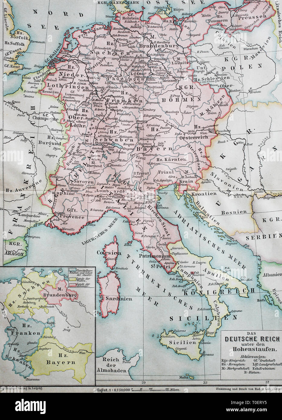 Historical map of the german empire at the time of the ...