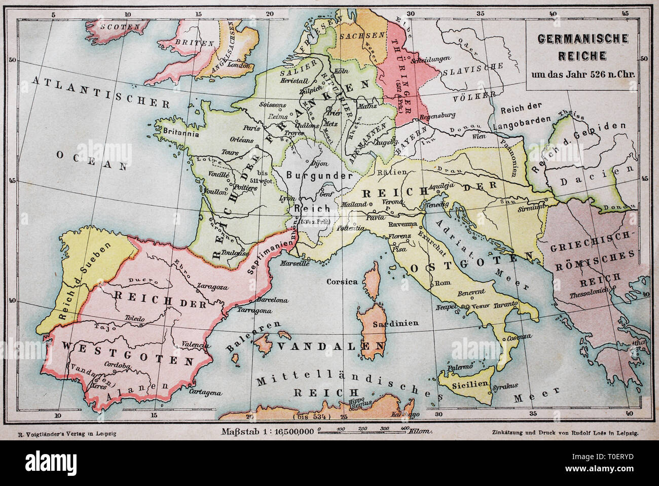 Historical map of the german empire in the year 526  /  Landkarte, das germanische Reich um das Jahr 526 n.Chr. - Stock Image