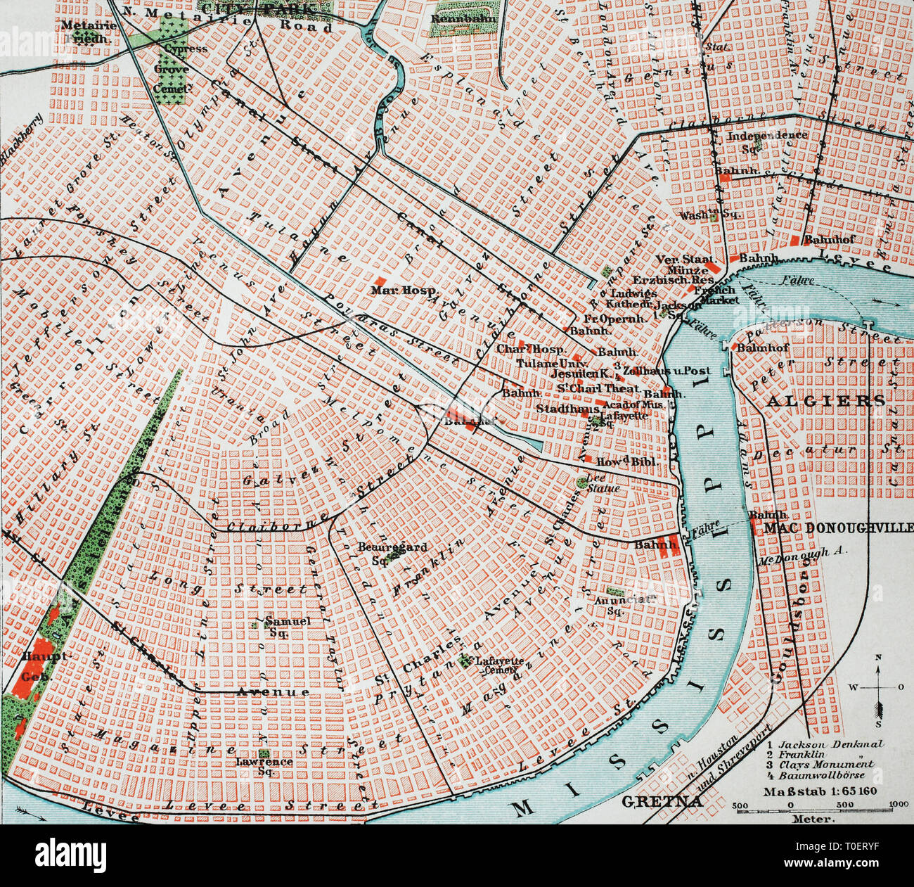 Historical map of the city of New Orleans and the Mississippi river, USA  /  Historischer Stadtplan von New Orleans am Mississippi, USA - Stock Image