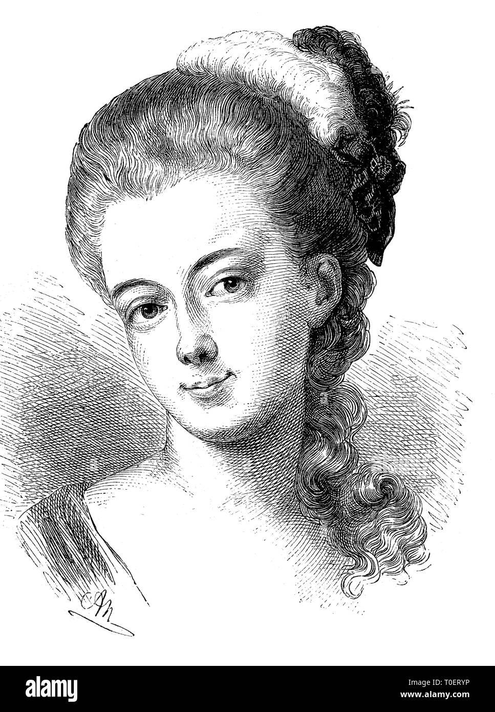 Augusta Molly Leonhard, born 1760, died 1786, molly Buerger, second wife of gottfried august Buerger, german poet, Germany   /  Augusta Molly Leonhard, born 1760, died 1786, Molly Bürger, zweite Ehefrau von Gottfried August Bürger, deutscher Dichter - Stock Image