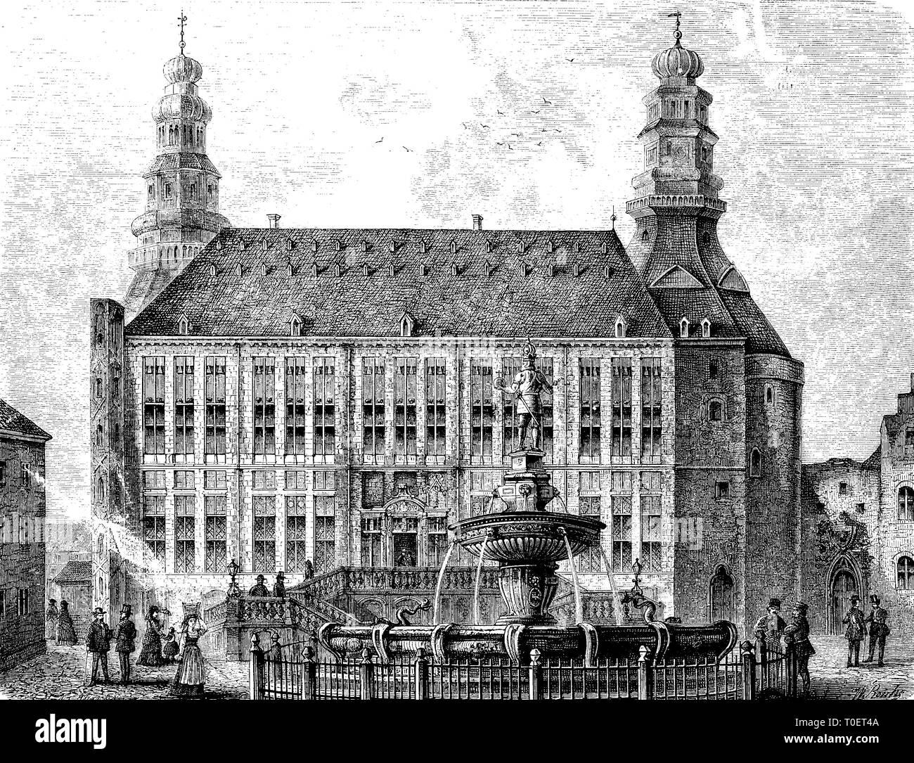 The townhall of Aachen, Germany  /  Das Rathaus in Aachen, Deutschland Stock Photo
