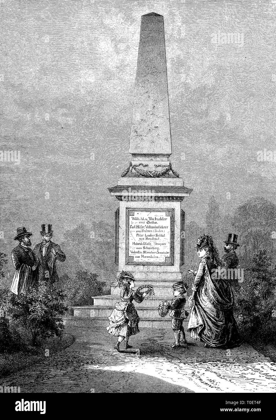 memorial to the fighters of 1849, at the cemetery of Mannheim, Germany  /  Denkmal für die Volkskämpfer von 1849, auf den Friedhof von Mannheim, Deutschland - Stock Image