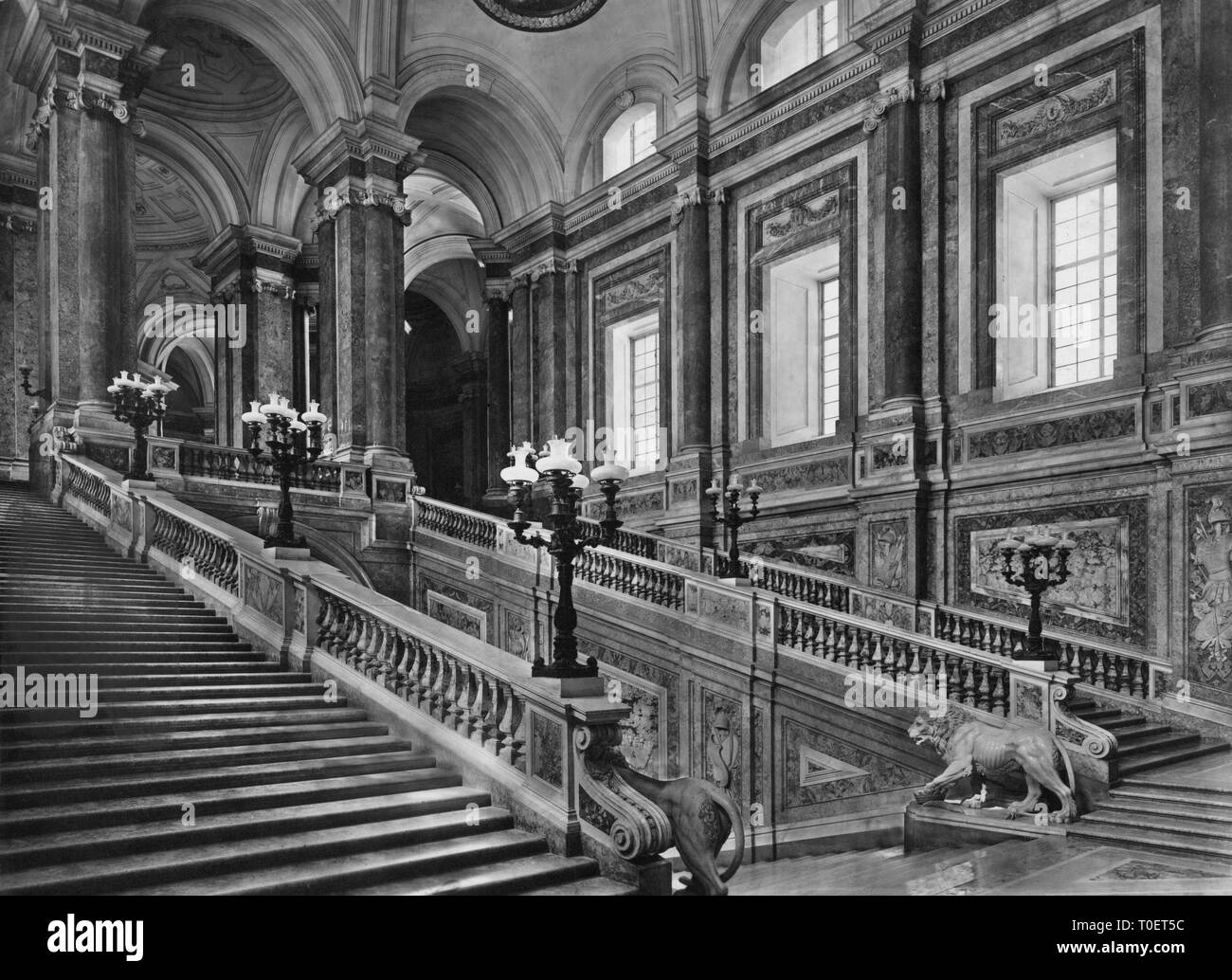 stairway, Royal Palace of Caserta, caserta, campania, italy 1910 Stock Photo