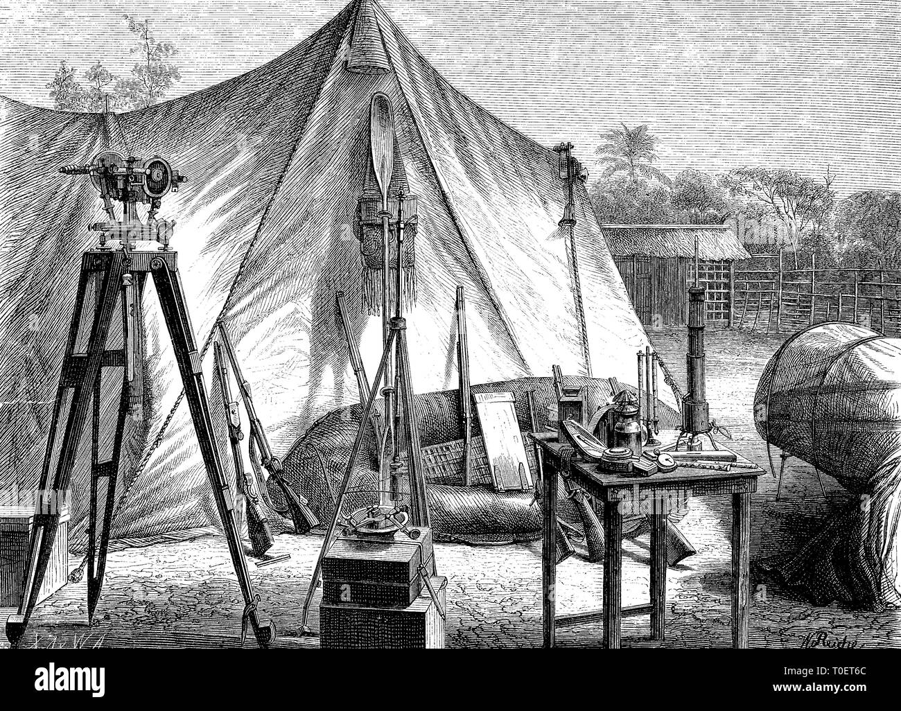 tent of african society, association for exploration of africa, at the mouth of the kongo  /  Zelt der afrikanischen Gesellschaft, Verein zur Erforschung Afrikas, an der Mündung des Kongo - Stock Image