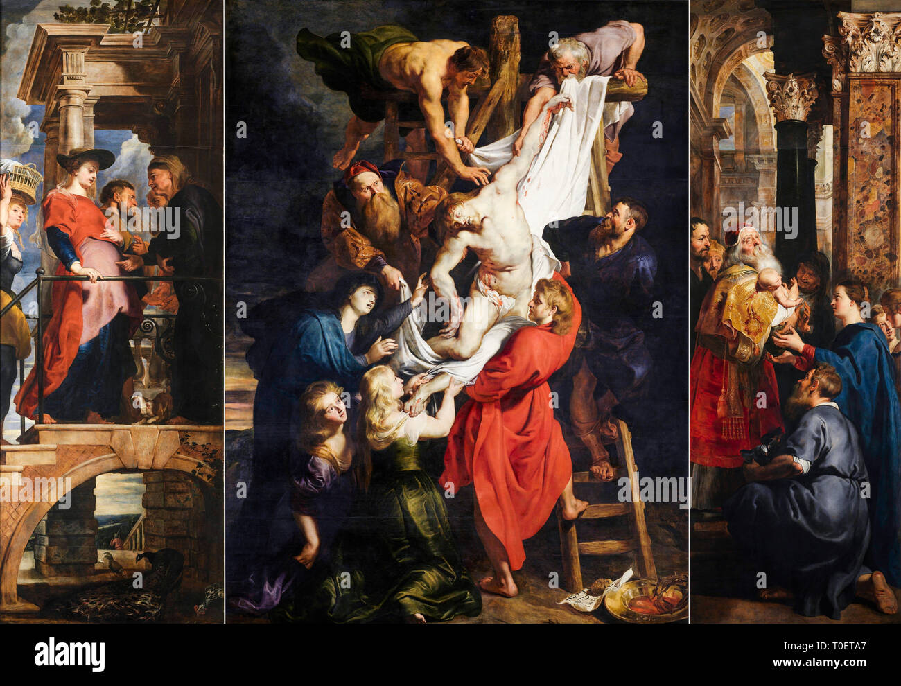 Peter Paul Rubens, The Descent from the Cross, Triptych, c. 1612 - Stock Image