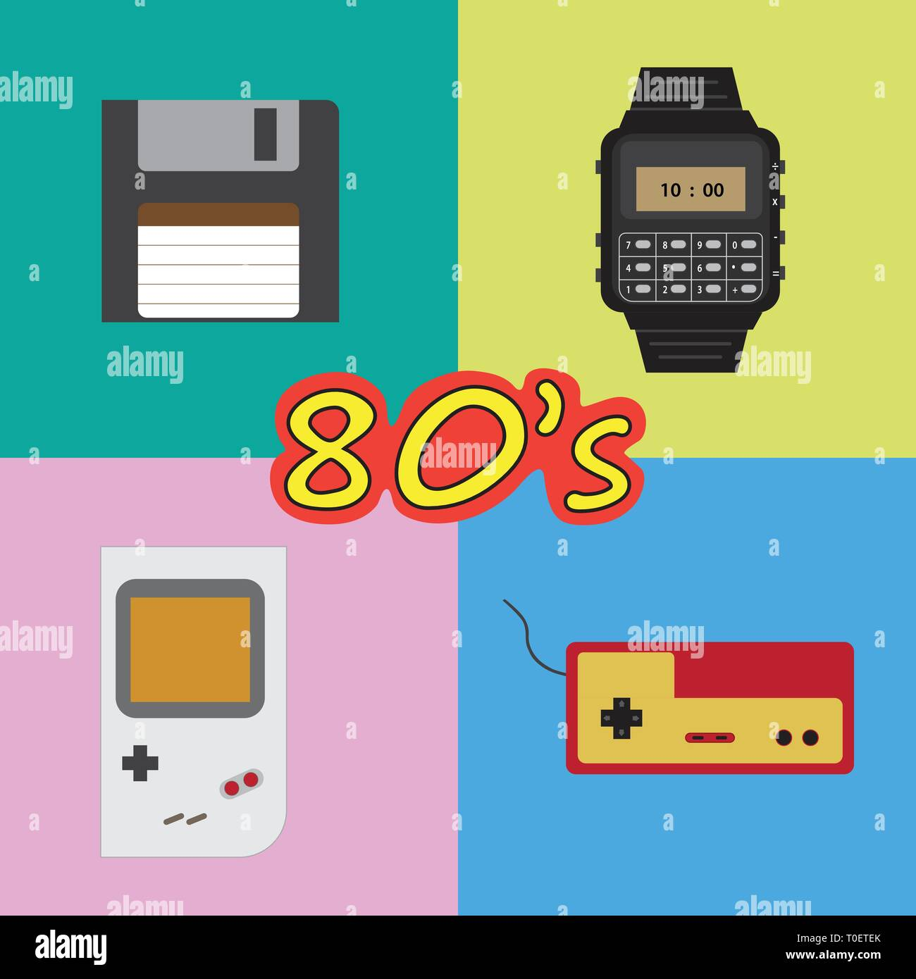 Retro vintage 80s objects set game watches and computer