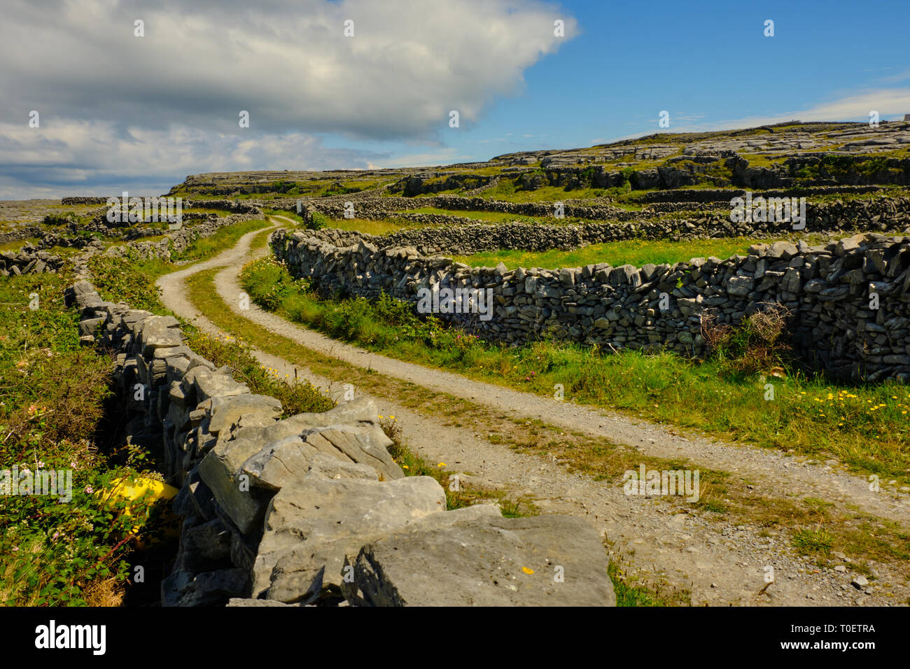 Old country road between rock walls in Irish isles on a blue sky day. - Stock Image