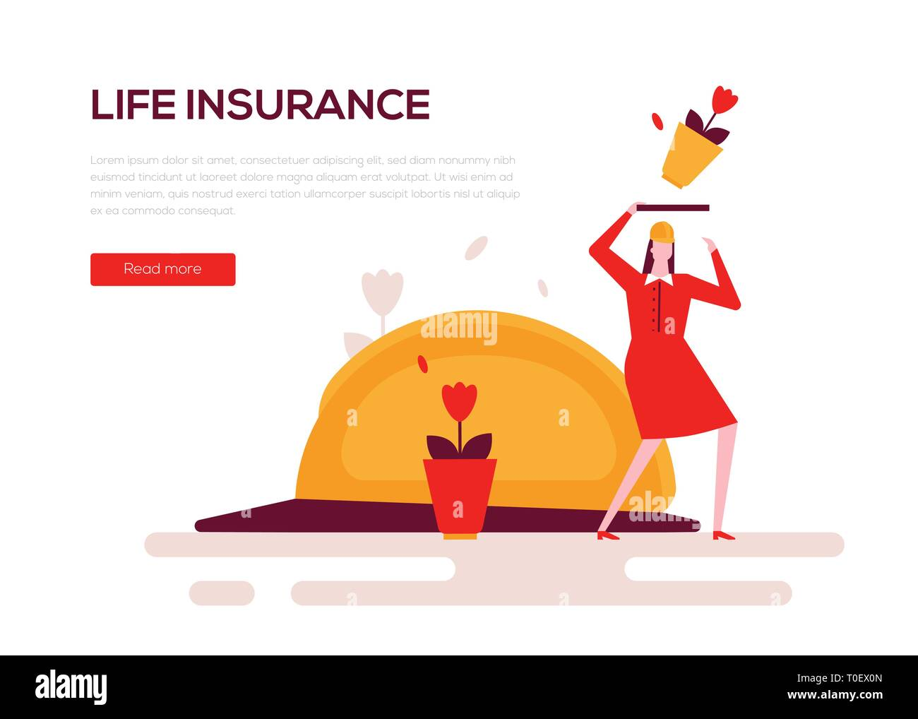 Life Insurance Colorful Flat Design Style Web Banner Stock Vector Image Art Alamy