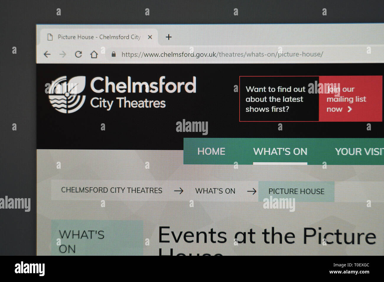 Chelmsford Picturehouse website - Stock Image