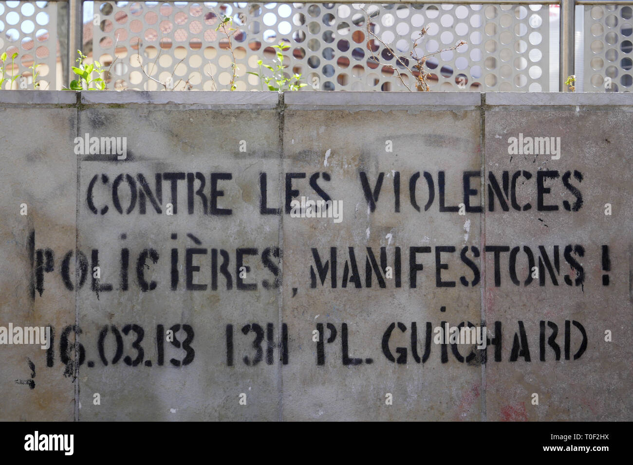 A Graffiti protest against violences made by police officers, Lyon, France - Stock Image