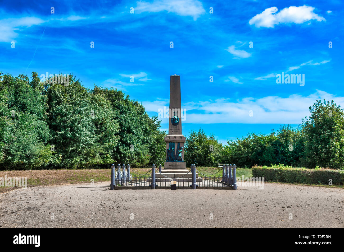 Commemorative column dedicated to Colonel Niels Christian Lunding, a hero of the Battle of Fredericia 1849 - Fredericia, Denmark. - Stock Image