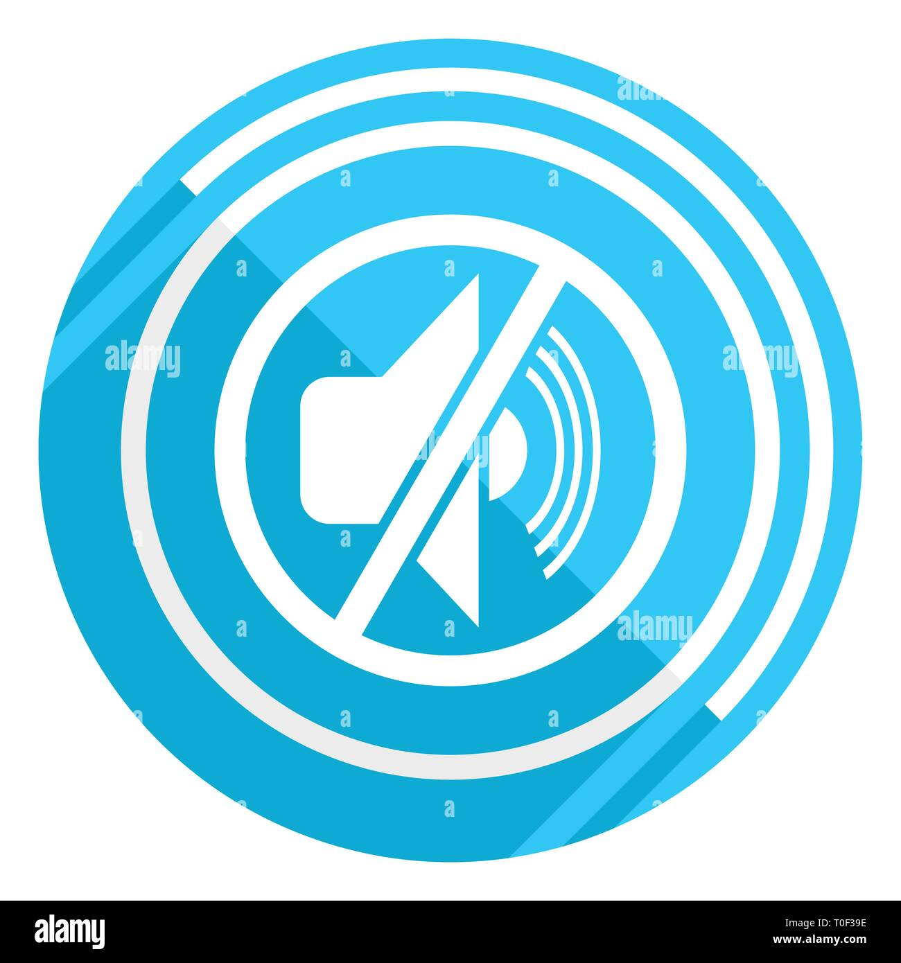 Mute flat design blue web icon, easy to edit vector illustration for webdesign and mobile applications - Stock Image