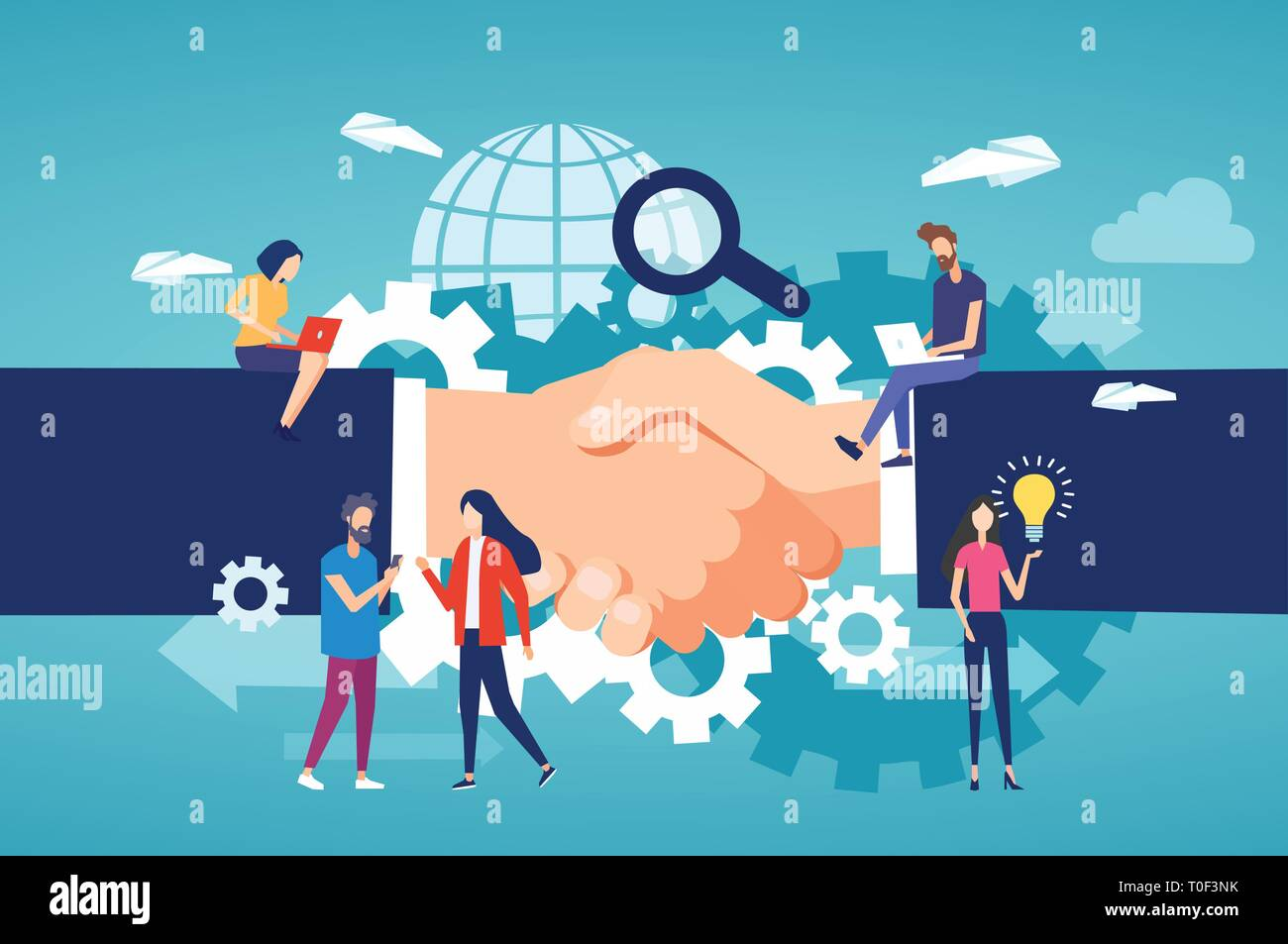 Partnership business collaboration and modern technology concept. Vector of entrepreneurs and freelance community members team working on a handshake  - Stock Vector