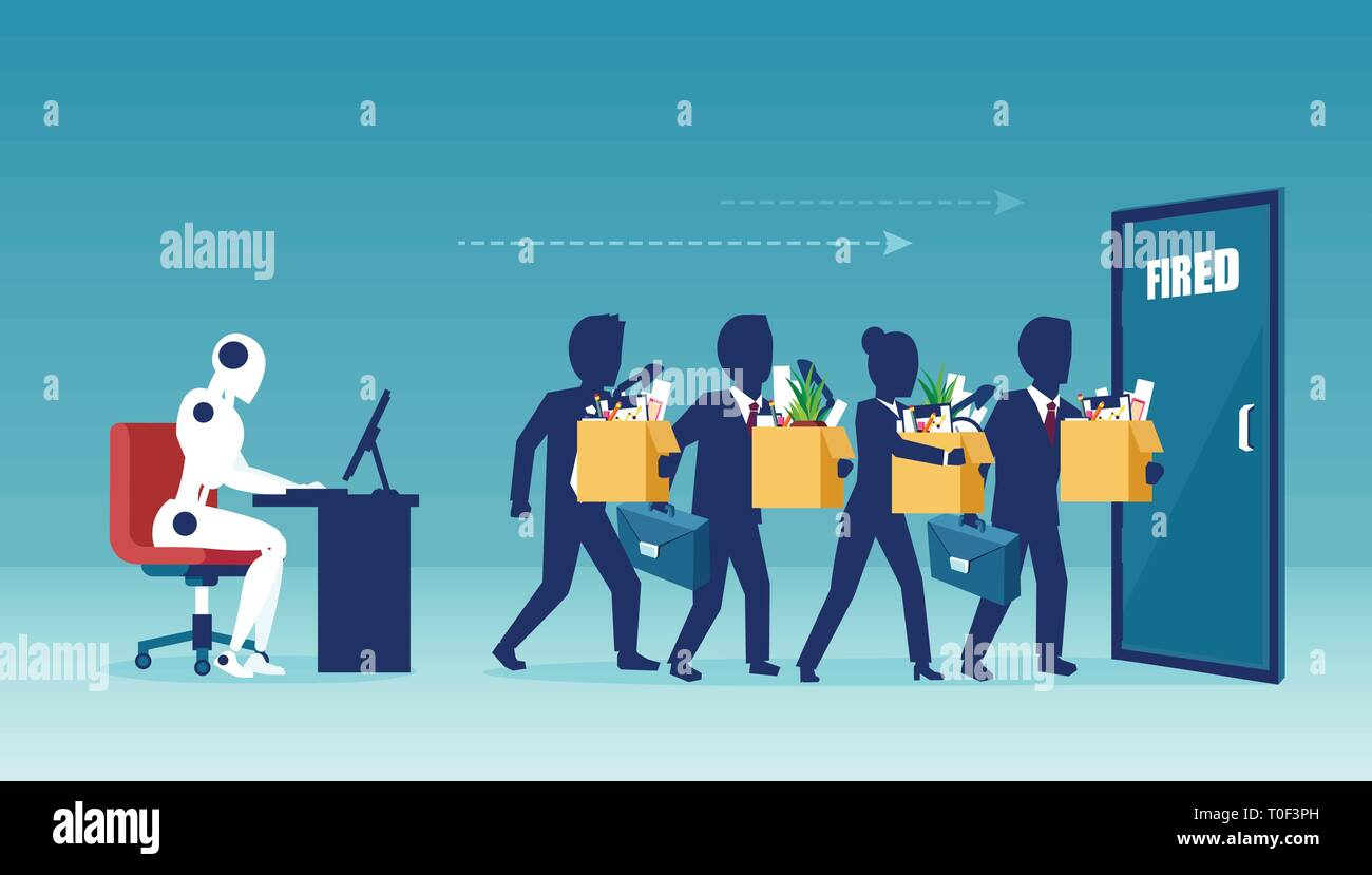 Humans vs Robot and job market insecurity concept. Vector of a robot manager replacing businesspeople being fired - Stock Vector