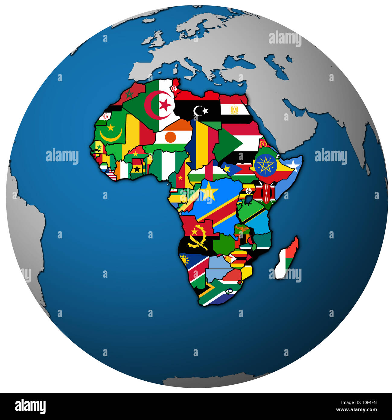 African Union Map.Globe Map With Political Map Of African Union Member Countries With