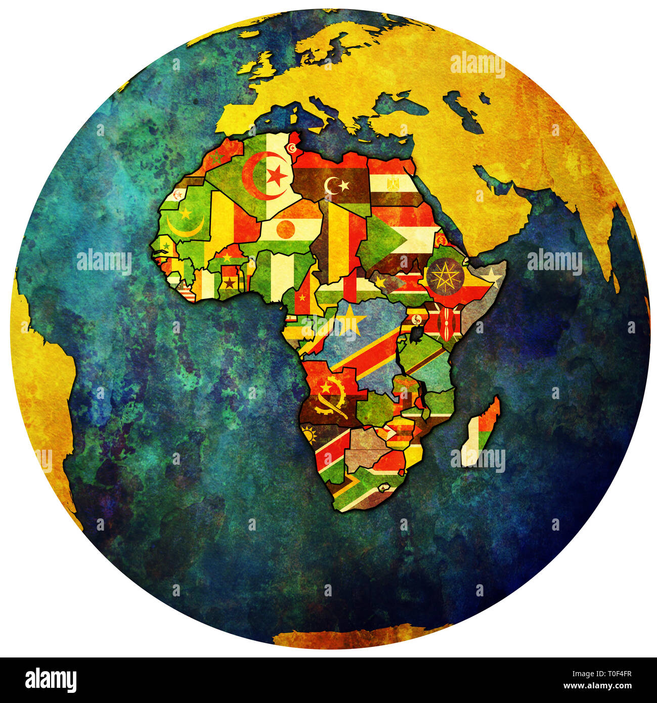 African Union Map.Globe Map With Political Map Of African Union Member