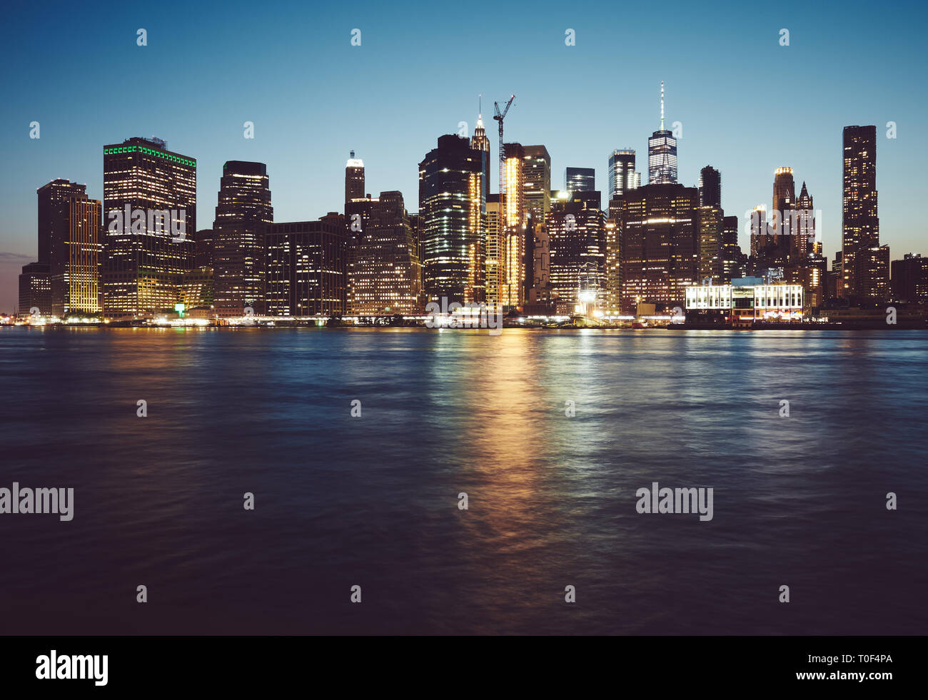 Manhattan at blue hour, color toned picture, New York City, USA. Stock Photo