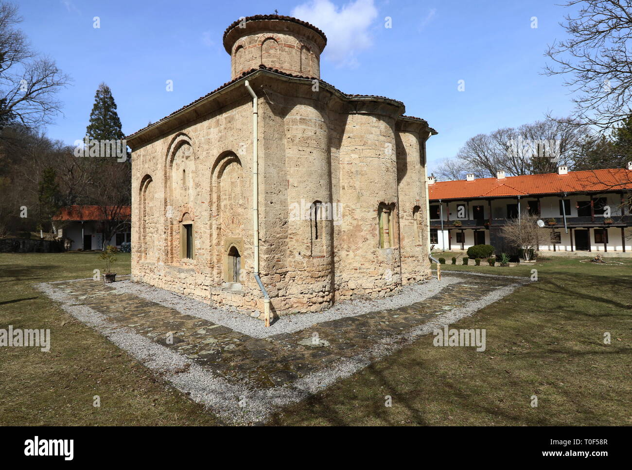 Zemen, Bulgaria - March 16, 2019: The church of the ancient Zemen Monastery, Bulgaria. Orthodox monastery. Bulgarian orthodox monastery. - Stock Image