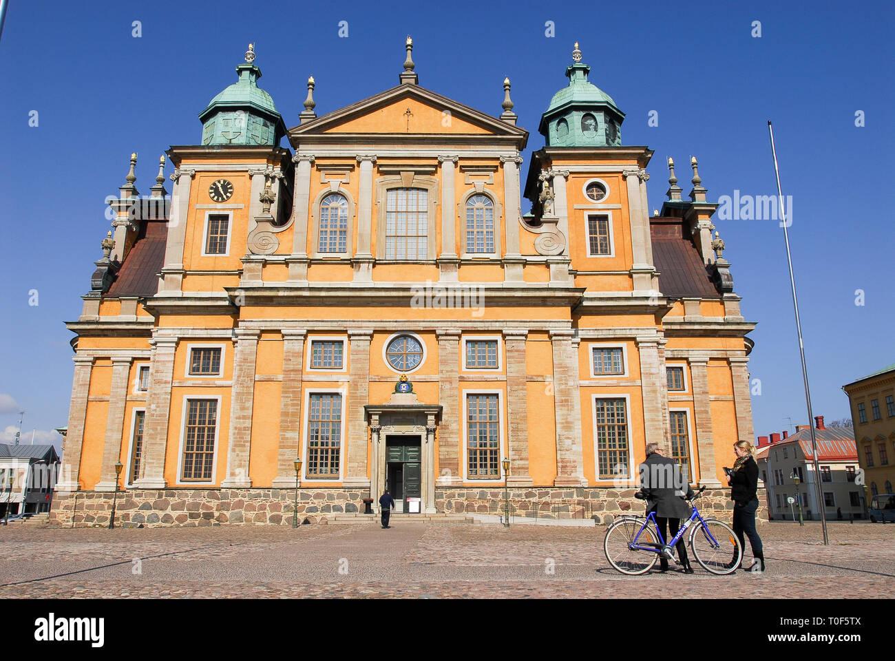 Baroque Kalmar domkyrka (Kalmar Cathedral) built 1660 to 1700 designed by Nicodemus Tessin the Elder on Stortorget in Kalmar, Kalmar County, Sweden. A - Stock Image