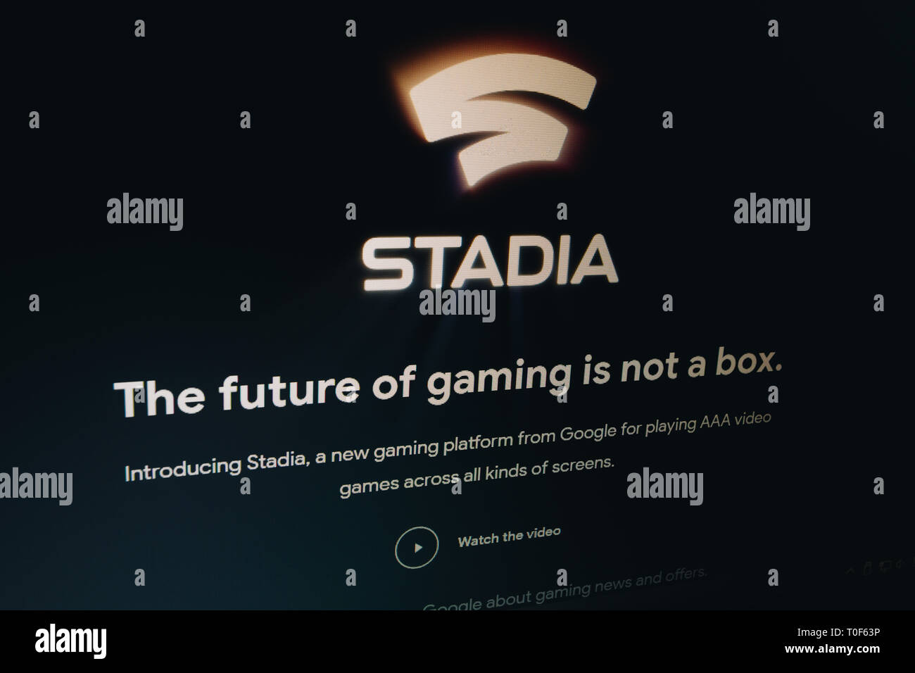 Stadia, a new gaming platform, logo on Google's webpage is seen on laptop computer screen - Stock Image