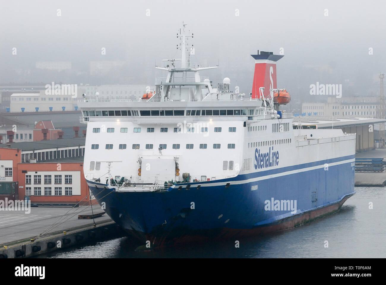 MS Finnarow, ro-pax ferry owned by Finnlines, in  Gdynia, Poland. April 12th 2008 © Wojciech Strozyk / Alamy Stock Photo - Stock Image