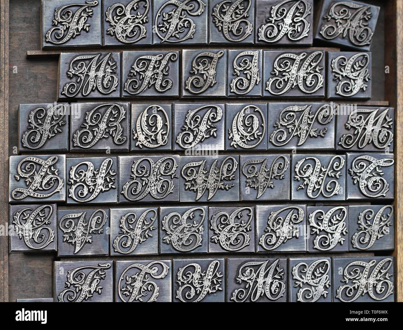 Decorative Retro Type Font for Letterpress Printing - Stock Image