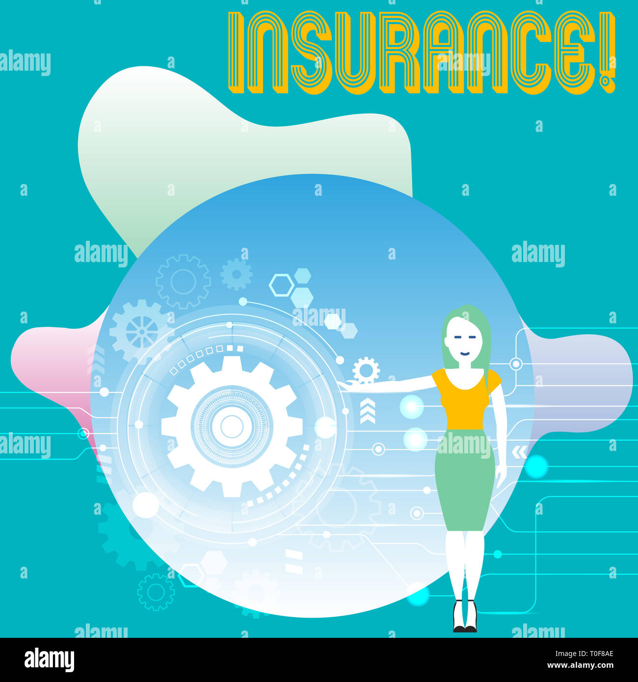 Conceptual hand writing showing Insurance. Concept meaning Policy for financial protection or reimbursement against losses Woman Presenting the SEO Pr - Stock Image