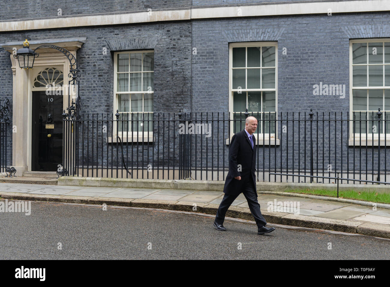 London, UK. 19th March, 2019. Chris Grayling MP, Secretary of State for Transport, leaves 10 Downing Street following the Cabinet Meeting, on the day Prime Minister Theresa May will decide what her next steps will be after her Brexit plans were dealt a significant blow by the Commons Speaker. Credit: Thomas Krych/Alamy Live News - Stock Image