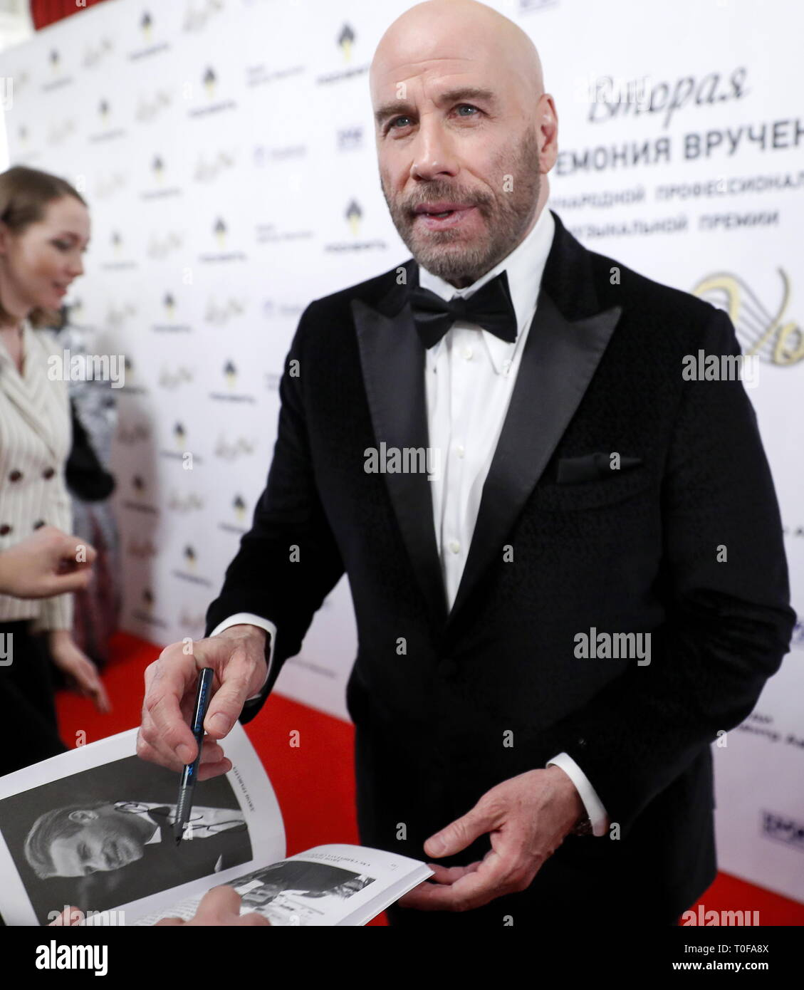 Moscow, Russia. 19th Mar, 2019. MOSCOW, RUSSIA - MARCH 19, 2019: American actor John Travolta ahead of a ceremony to present BraVo international classical music awards at the Bolshoi Theatre. Mikhail Japaridze/TASS Credit: ITAR-TASS News Agency/Alamy Live News - Stock Image