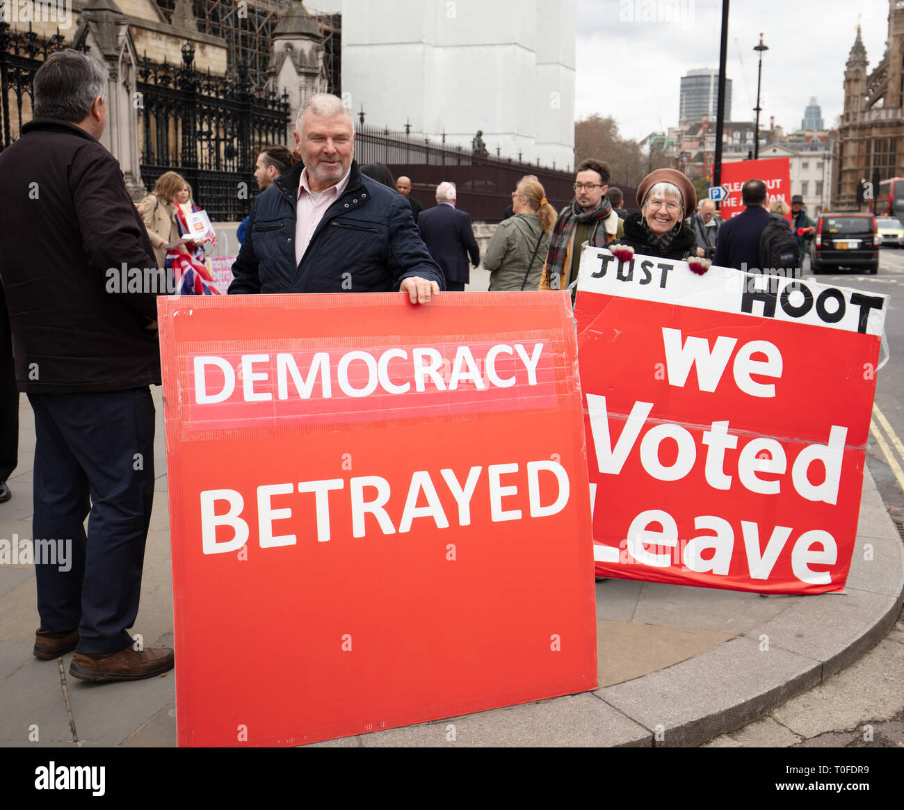 London, UK. 19th March, 2019. Brexiteers protest with large boards in front of Parliament, Parliament Square, London, UK, today. Credit: Joe/Alamy Live News - Stock Image
