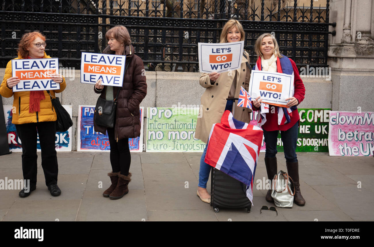 London, UK. 19th March, 2019. Group of Brexiteers protest in front of Parliament, Parliament Square, London, UK, today. Credit: Joe/Alamy Live News - Stock Image