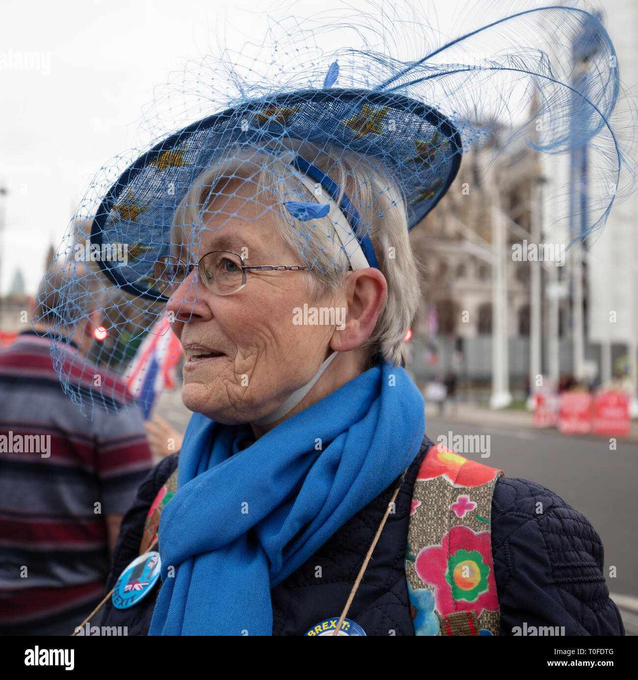 London, UK. 19th March, 2019. Remainer protester in front of Parliament, Parliament Square, London, UK. Credit: Joe/Alamy Live News - Stock Image