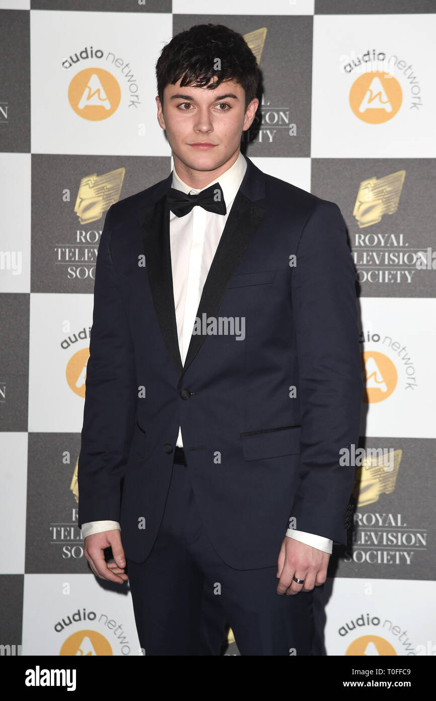LONDON, UK. March 19, 2019: Aedan Duckworth arriving for the Royal Television Society Awards 2019 at the Grosvenor House Hotel, London. Picture: Steve Vas/Featureflash Credit: Paul Smith/Alamy Live News Stock Photo