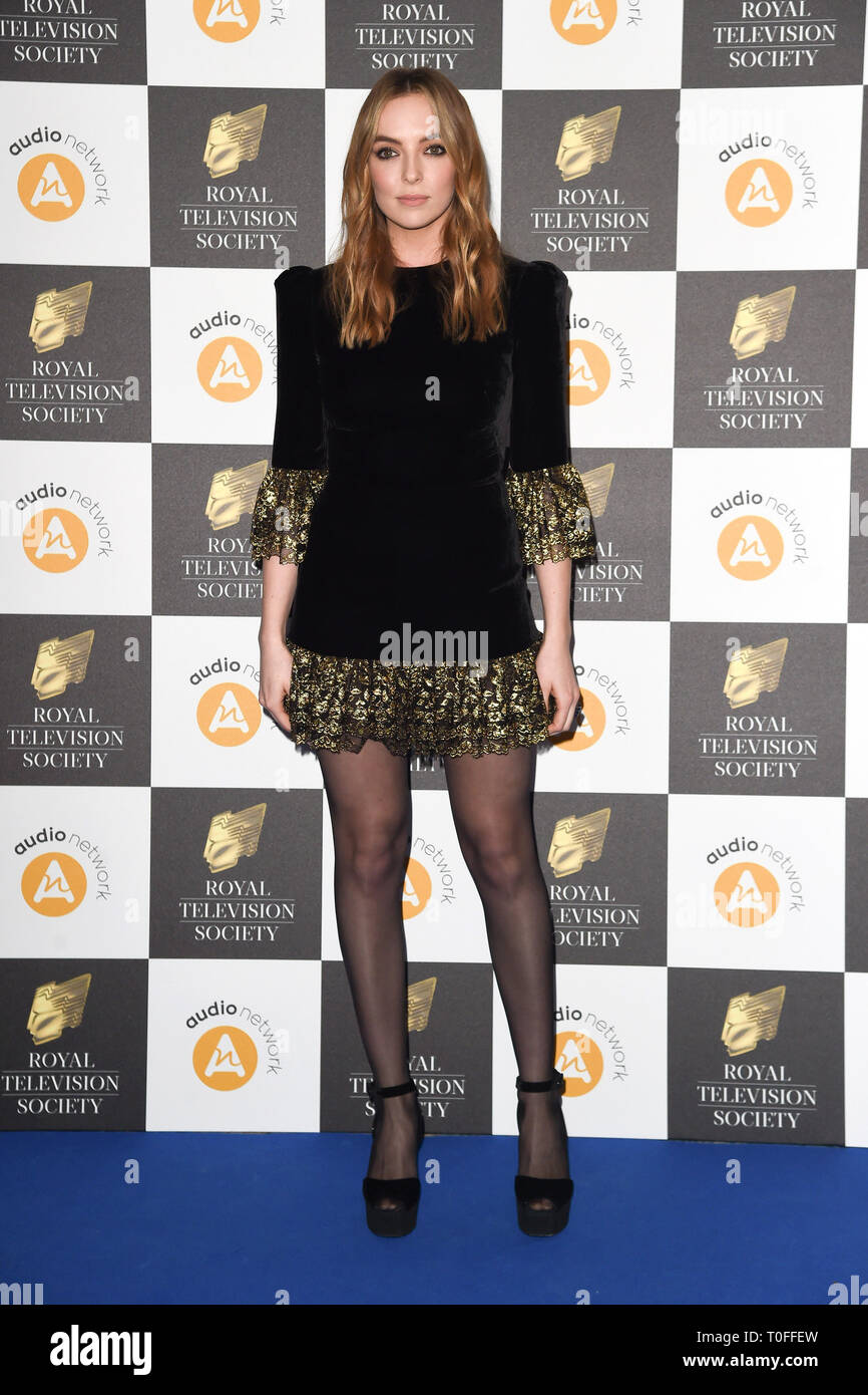 LONDON, UK. March 19, 2019: Jodie Comer arriving for the Royal Television Society Awards 2019 at the Grosvenor House Hotel, London. Picture: Steve Vas/Featureflash Credit: Paul Smith/Alamy Live News Stock Photo