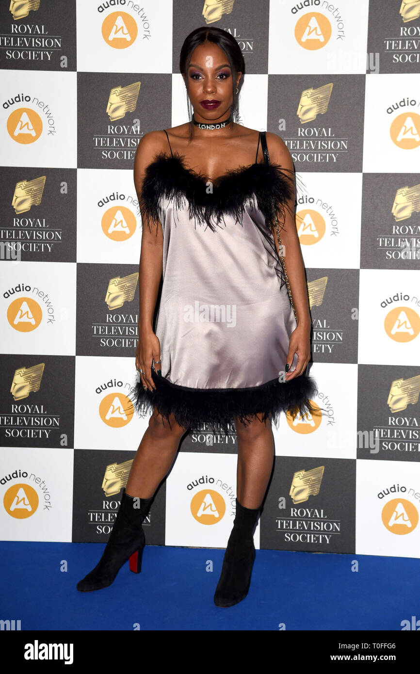 LONDON, UK. March 19, 2019: London Hughes arriving for the Royal Television Society Awards 2019 at the Grosvenor House Hotel, London. Picture: Steve Vas/Featureflash Credit: Paul Smith/Alamy Live News Stock Photo