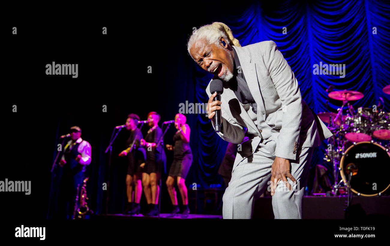 Norway, Oslo - March 19, 2019. The Trinidadian-English singer and songwriter Billy Ocean performs a live concert at Oslo Spektrum in Oslo. (Photo credit: Gonzales Photo - Tord Litleskare). Credit: Gonzales Photo/Alamy Live News - Stock Image