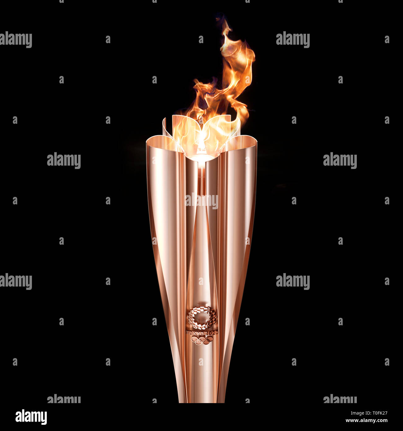 Tokyo, Japan. 20th Mar, 2019. Tokyo Organizing Committee of the Olympic and Paralympic Games (Tokyo 2020) shows the prototype of the Tokyo 2020 Olympic Torch. Tokyo 2020 unveiled the prototype of the Tokyo 2020 Olympic Torch on Wednesday. The motif of Tokyo 2020 Olympic Torch is cherry blossom. Aluminum recycled from temporary housing used in areas struck by the Great East Japan Earthquake disaster will be used to manufacture the torch. Tokyo 2020) Credit: Xinhua/Alamy Live News - Stock Image