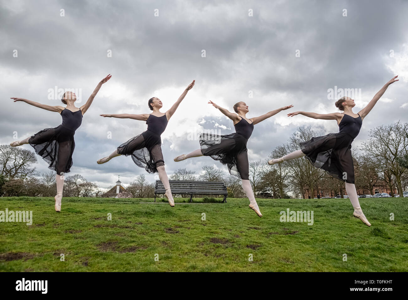 London, UK. 20th March, 2019. Dancers from Semaphore Ballet Company perform in Greenwich Park in the morning light of the spring equinox. L-R Poppy Barnes, Natsuki Uemura, Sohvi Paallysaho and Alice McDermott are choreographed by Semaphore Ballet Company director Laura Radford. Credit: Guy Corbishley/Alamy Live News - Stock Image