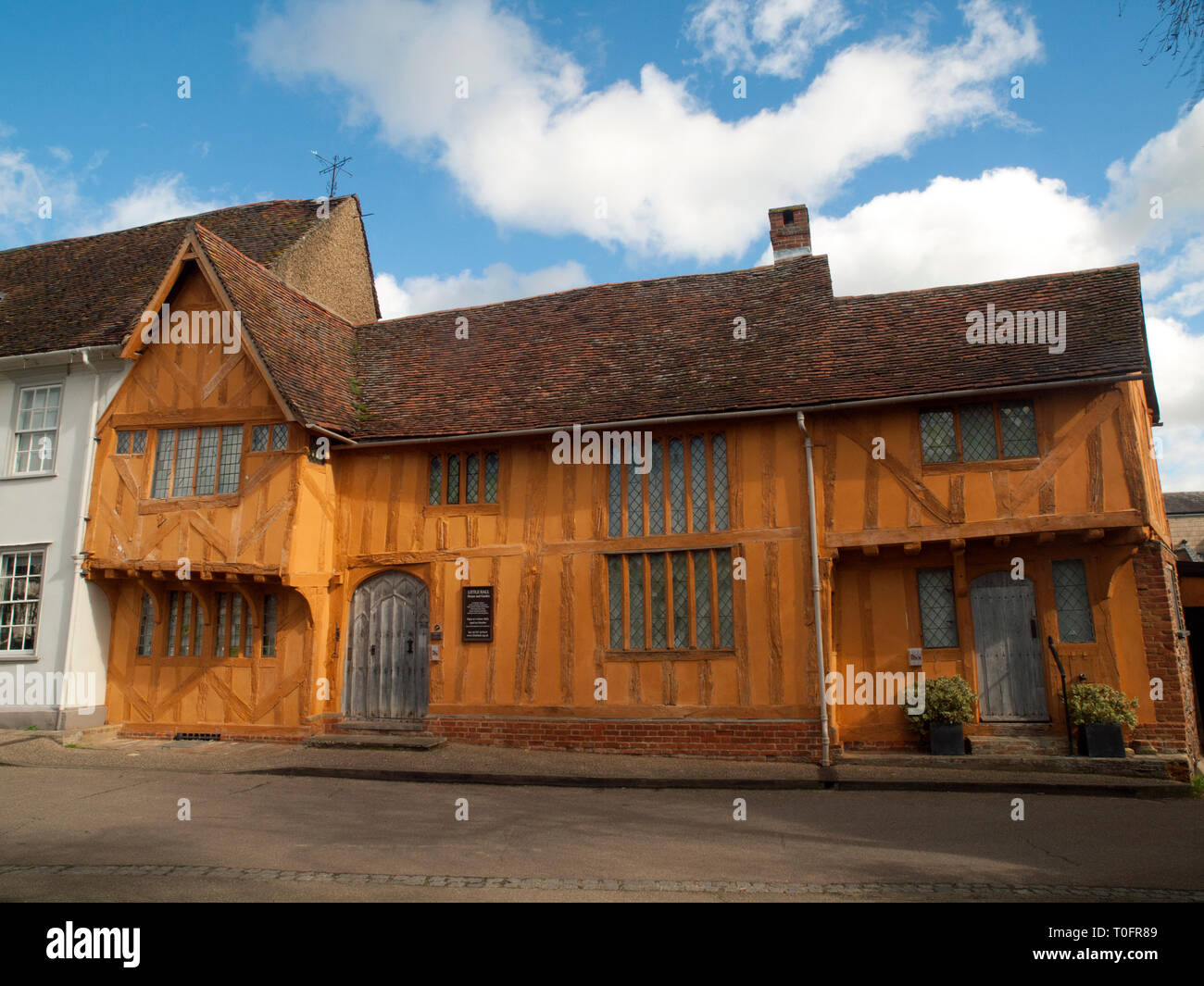 Little Hall, house and garden, in the medieval wool town of Lavenham in Suffolk - Stock Image