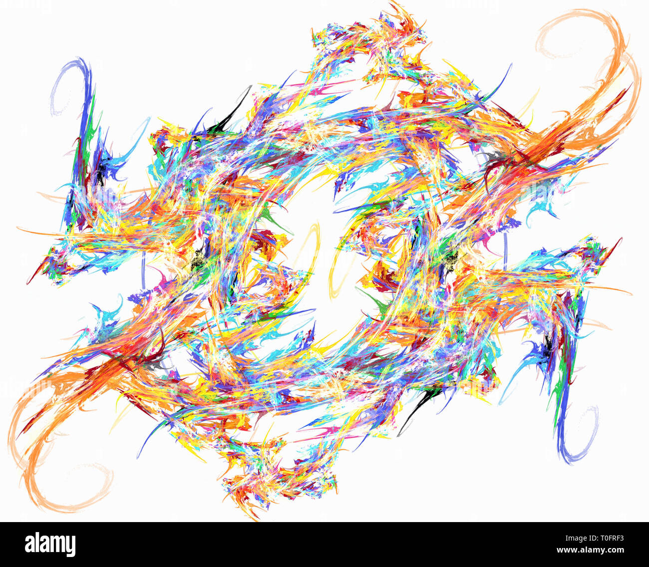 Paint splash flame ring spin color abstract, horizontal, over white - Stock Image