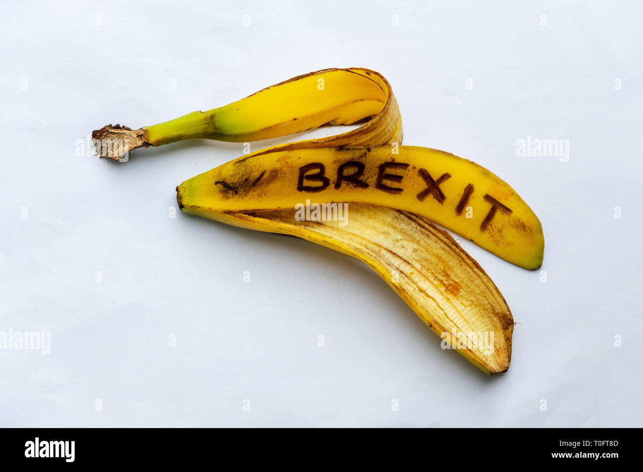 A Banana Skin, representing the way Brexit has been dealt with. Mrs Mays deal which has failed to get through Parliament, and a possible extension. - Stock Image