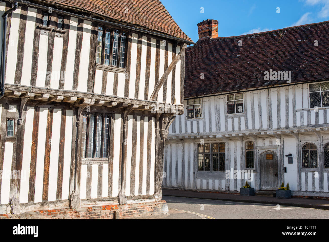 Corner of Water Street and Lady Street, Lavenham, Suffolk, England, United Kingdom, Europe. - Stock Image