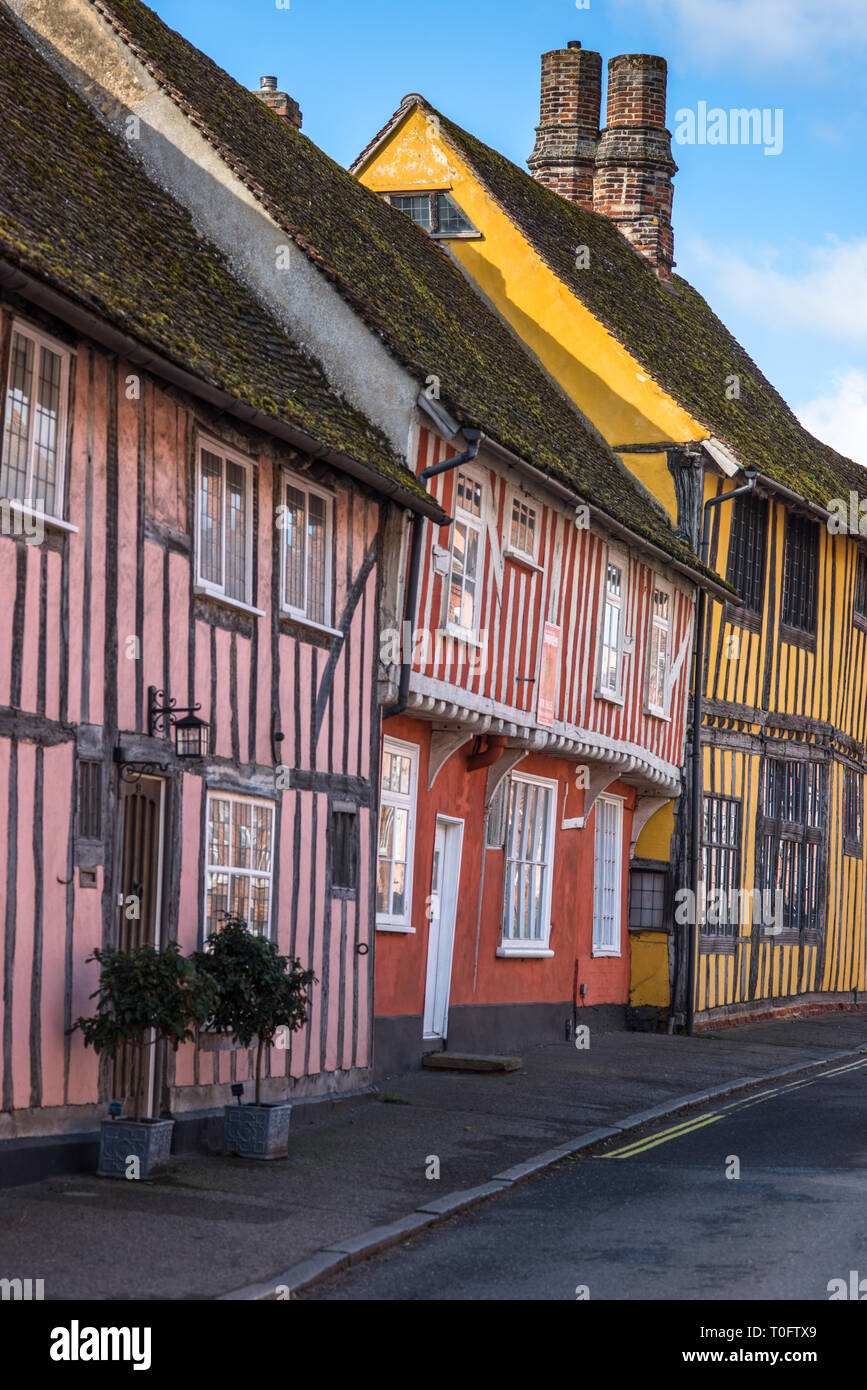 Half-timbered medieval cottages, Water Street, Lavenham, Suffolk, England, United Kingdom - Stock Image