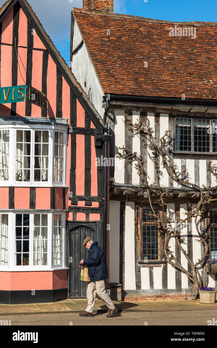 Picturesque local shops on the Market Square Lavenham Suffolk England UK - Stock Image
