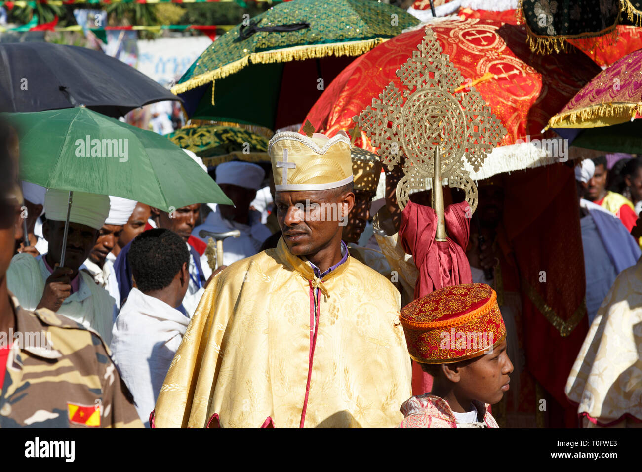 Gonder, Ethiopia, February 18 2015: People dressed in traditional attire celebrate the Timkat festival, the important Ethiopian Orthodox celebration o Stock Photo
