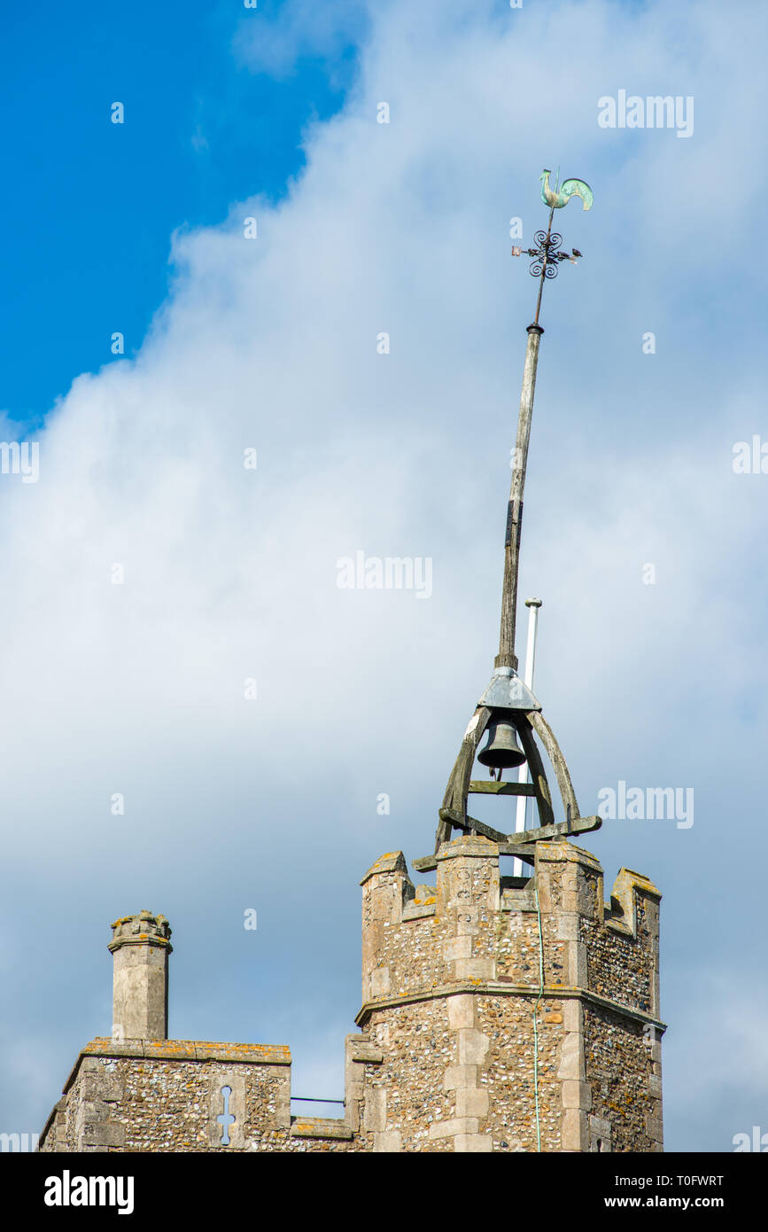 Bell tower with bell shower at the top of St Mary the Virgin's church in Cavendish village, Suffolk, England, UK. - Stock Image