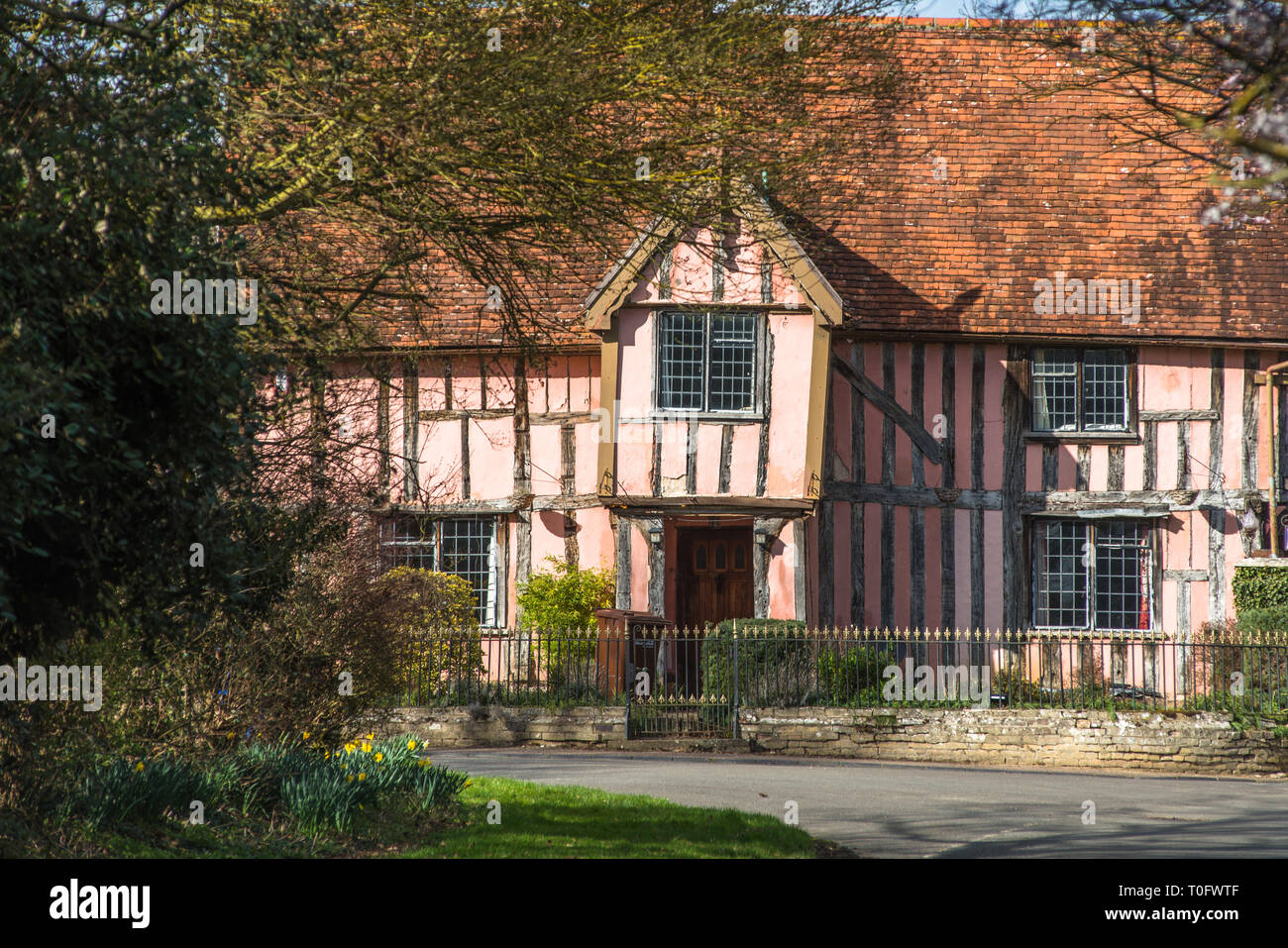 Nether Hall, a half-timbered building in the village of Cavendish, Suffolk, England UK - Stock Image